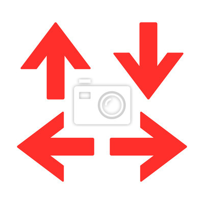 Pfeil Richtung Zeichen Rote Farbe Isoliert Vektor Fototapete