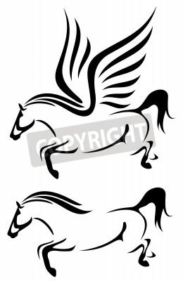 Pferde Schwarz Weiß Vektor überblick Springhengst Und Fliegende