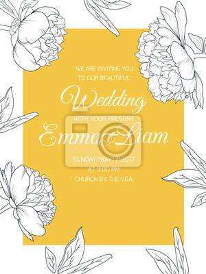 Fototapete Pfingstrose Stieg Blumen Hochzeit Hochzeit Braut Einladung Karte  Vorlage. Schwarz Weiß Linie