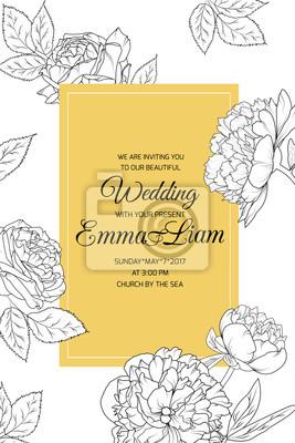 Fototapete Pfingstrose Stieg Blumen Hochzeit Hochzeit Veranstaltung Feier  Einladung Karte Vorlage Porträt Orientierung. Detaillierte Blumen