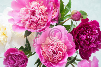 Pfingstrosen Schone Bouquet Von Rosa Weissen Und Lila Pfingstrosen