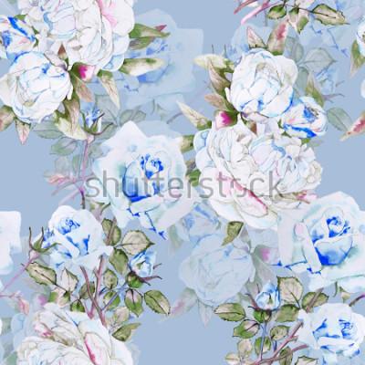 Fototapete Pfingstrosen und Rosen Aquarell Abbildung Muster