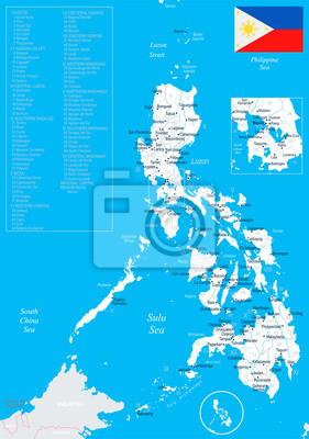 Karte Philippinen.Fototapete Philippinen Karte Detaillierte Vektor Illustration