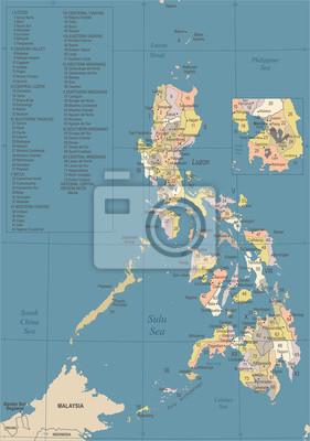 Karte Philippinen.Fototapete Philippinen Karte Weinlese Ausführliche Vektor Illustration