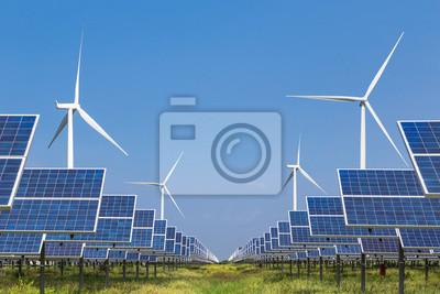 Fototapete Photovoltaik Solar-Panel und Windkraftanlagen Stromerzeugung in Solarkraftwerk alternative Energie aus der Natur