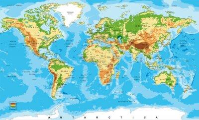 Fototapete Physische Karte der Welt