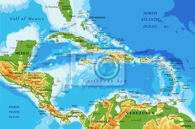 Physische Karte Lateinamerika.Fototapete Physische Karte Von Zentralamerika Und Karibik