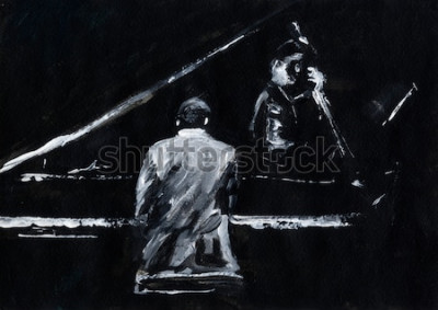 Fototapete Pianist und Kontrabassist. Jazz Band Konzert. Pianist und Kontrabassist treten auf der Bühne auf. Stilvolle abstrakte Schwarzweiss-Malerei. Rück- und Seitenansicht. Musiker mit Instrumenten.