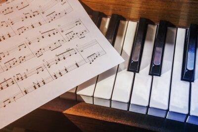 Fototapete Piano-Tasten und Noten