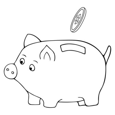 Piggy piglet. A dollar coin falls into the hole. Vector illustration. Contour on an isolated white background. Doodle style. Sketch. Coloring book for children. The accumulation of finance.