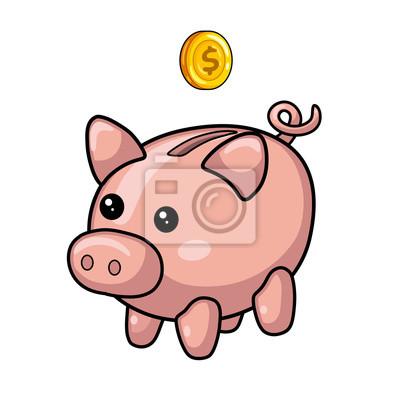 Piggy sparbüchse und münze. fototapete • fototapeten verdienen ...