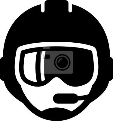 Pilot mit mikrofon-symbol fototapete • fototapeten anmelden, Glyphen ...
