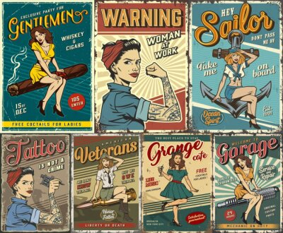Fototapete Pin up colorful posters set