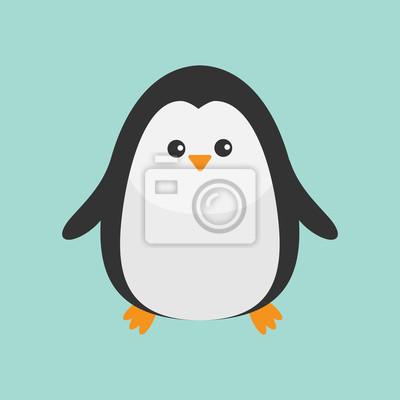 Pinguin. Nette Zeichentrickfilm-Figur. Küken. Arktische Tier-Sammlung. Flaches Design