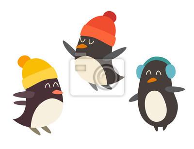 Pinguin-Set Cartoon Vektor-Illustration, isoliert auf weißem Hintergrund