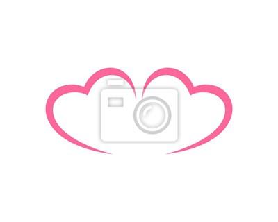 Pink 2 herzen linien fototapete • fototapeten sich verlieben, nubes ...
