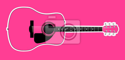 Pink Acoustic Guitar Over Pink Background