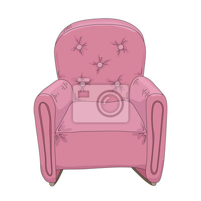 pink armchair on a white background