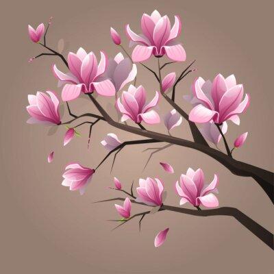 Fototapete Pink magnolia flowers