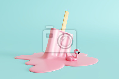 Fototapete Pink stick ice cream melting with flamingo float on pastel blue background. Creative idea minimal summer concept. 3d rendering