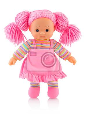 Pinky Plushie Puppe Lokalisiert Auf Weißem Hintergrund Mit