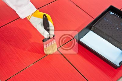Pinsel Primer Mörtel Der Roten Fliesen Beständig Fototapete - Fliesen mörtelbett entfernen