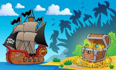 Fototapete Piraten-Thema mit Schatzkiste 1