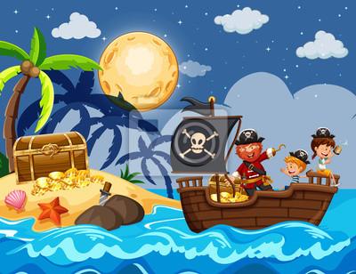 Piraten und Kinder, die Schatz finden