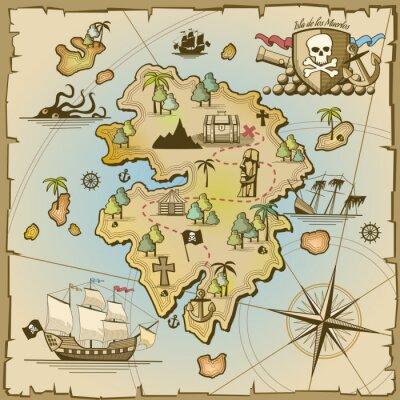 Fototapete Piratenschatz Insel Vektor-Karte
