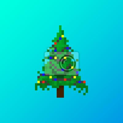 Weihnachtsbaum Spiele.Fototapete Pixel Böser Weihnachtsbaum Mit Girlande Für Spiele Und Anwendungen