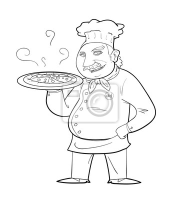 Pizza Chef Ein Schwarz Weiß Hand Gezeichnet Vektor Illustration