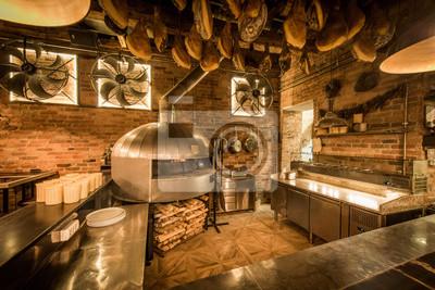 Pizza-ofen in offener küche italienisches restaurant fototapete ...