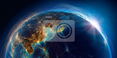 Fototapete Planet Erde mit detaillierten Reliefs ist mit einem komplexen leuchtenden Netzwerk von Flugrouten bedeckt, die auf realen Daten basieren. Pazifik See. Japan, China. 3D-Rendering. Elemente dieses Bilde