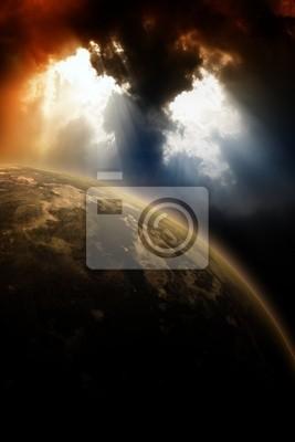 Planet in dunklen Himmel