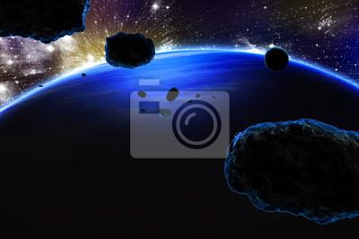 Fototapete Planet mit Ringen bei Sonnenaufgang auf dem Hintergrund des Kosmos