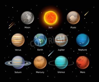 Fototapete Planeten bunte Vektor-Set auf dunklem Hintergrund, Planet Vektor-Set. Planetikonen 3d infografische Elemente. Planeten Sammlung Silhouette. Planeten Abbildung Vektor 3d Icons