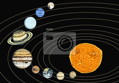 Planeten Im Sonnensystem Mond Und Sonne Quecksilber Und Erde