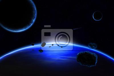 Planeten mit Ringen bei Sonnenaufgang auf dem Hintergrund des Kosmos