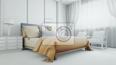 Fototapete Planung Und Maßanfertigung Von Bett Im Schlafzimmer