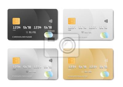 Fototapete Plastic bank card design template set - isolated credit or debit cards mockup