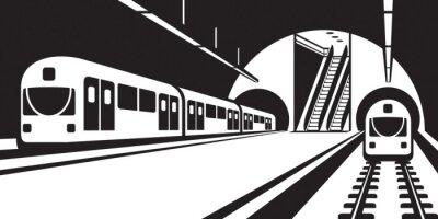 Fototapete Plattform der U-Bahnstation mit Zügen - Vektor-Illustration