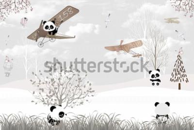 Fototapete Playing cute pandas kids room wallpaper design