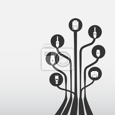 Plug-kabel-kabel computer-icons gesetzt, draht-hintergrund ...