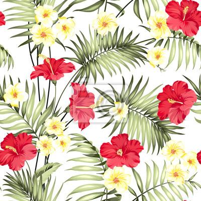 Plumeria blumen und dschungel palmen. schöne stoff muster mit ...