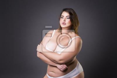 premium selection 4391e a8c71 Fototapete: Plus größe mode-modell in unterwäsche, junge dicke frau auf  grauem