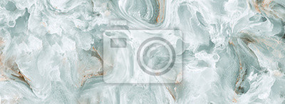 Fototapete Polished onyx marble with high-resolution, aqua tone emperador marble, natural breccia stone agate surface, modern Italian marble for interior-exterior home decoration tile and ceramic tile surface.