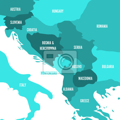 Political map of balkans - states of balkan peninsula. four shades ...