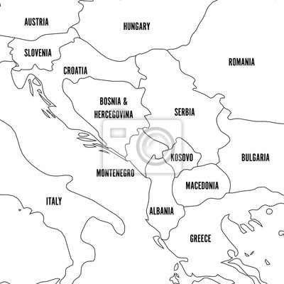 Political map of balkans - states of balkan peninsula. simple ...