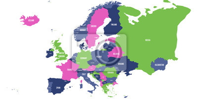 Fototapete: Political map of europe continent in four colors with white  country