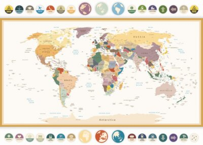 Fototapete Political World Map with flat icons and globes.Vintage colors.